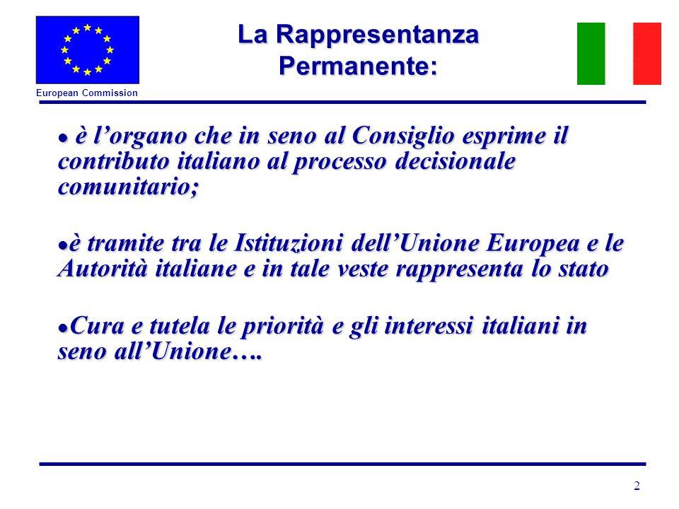 European Commission 2 La Rappresentanza Permanente: l è lorgano che in seno al Consiglio esprime il contributo italiano al processo decisionale comunitario; l è tramite tra le Istituzioni dellUnione Europea e le Autorità italiane e in tale veste rappresenta lo stato l Cura e tutela le priorità e gli interessi italiani in seno allUnione….