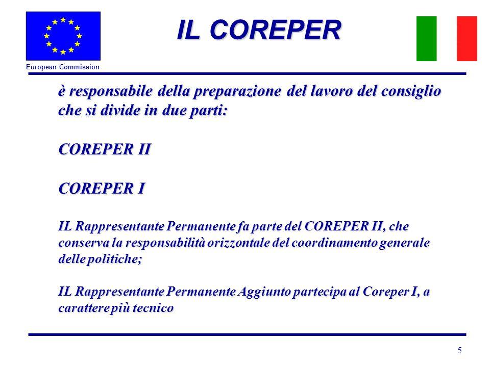 European Commission 5 IL COREPER è responsabile della preparazione del lavoro del consiglio che si divide in due parti: COREPER II COREPER I IL Rappresentante Permanente fa parte del COREPER II, che conserva la responsabilità orizzontale del coordinamento generale delle politiche; IL Rappresentante Permanente Aggiunto partecipa al Coreper I, a carattere più tecnico