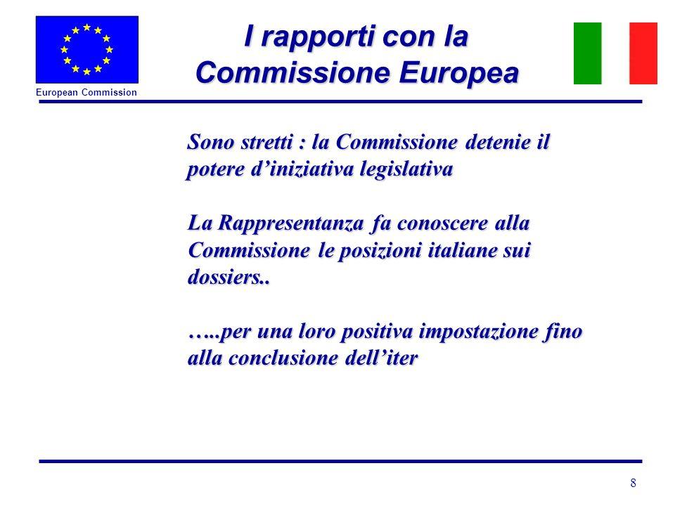 European Commission 8 I rapporti con la Commissione Europea Sono stretti : la Commissione detenie il potere diniziativa legislativa La Rappresentanza fa conoscere alla Commissione le posizioni italiane sui dossiers..