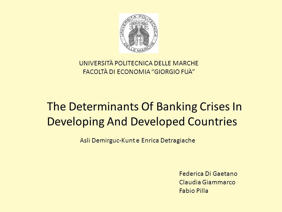Variabili che possono spiegare il sorgere una crisi sistemica del settore bancario Shocks macroeconomici che colpiscono le banche incrementando la quota di crediti inesigibili 1)Riduzione tasso di crescita del Pil 2)Diminuzione delle ragioni di scambio 3)Aumento tassi dinteresse reali di breve periodo Liberalizzazione finanziaria (porta ad una maggiore fragilità del settore bancario poichè cè maggiore opportunità di risk-taking e di frodi da parte dei managers delle banche) Eapprossimata da : 1)Un aumento dei tassi dinteresse reali di breve periodo 2)Laumento del credito Linflazione poiché: 1)E solitamente associata ad alti tassi dinteresse nominali 2)Esintomo di cattiva amministrazione (mismanagement) a livello macroeconomico che puocausare problemi alleconomia e al settore bancario