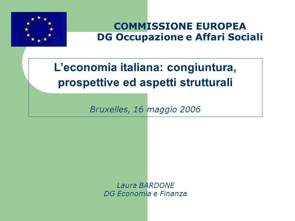 COMMISSIONE EUROPEA DG Occupazione e Affari Sociali Laura BARDONE DG Economia e Finanza Leconomia italiana: congiuntura, prospettive ed aspetti strutturali Bruxelles, 16 maggio 2006