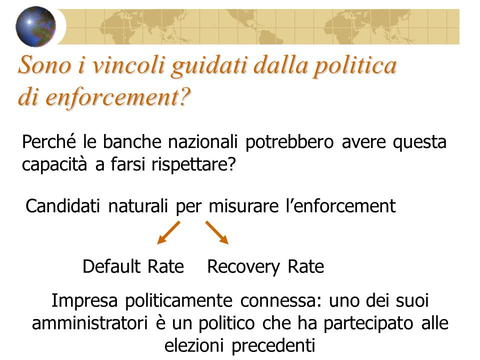 Sono i vincoli guidati dalla politica di enforcement.