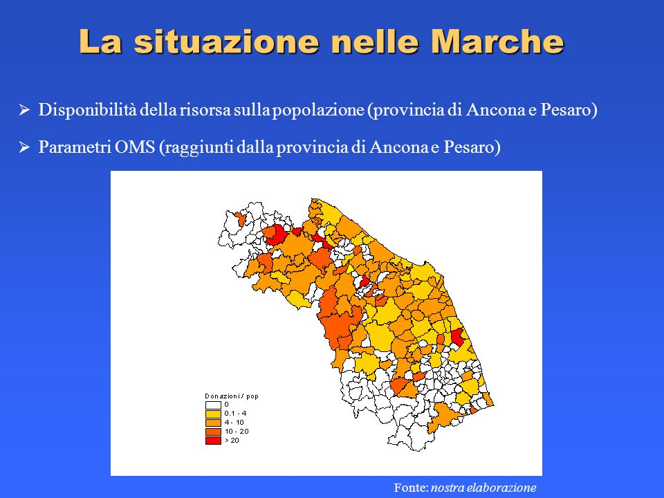 La situazione nelle Marche Disponibilità della risorsa sulla popolazione (provincia di Ancona e Pesaro) Fonte: nostra elaborazione Parametri OMS (ragg