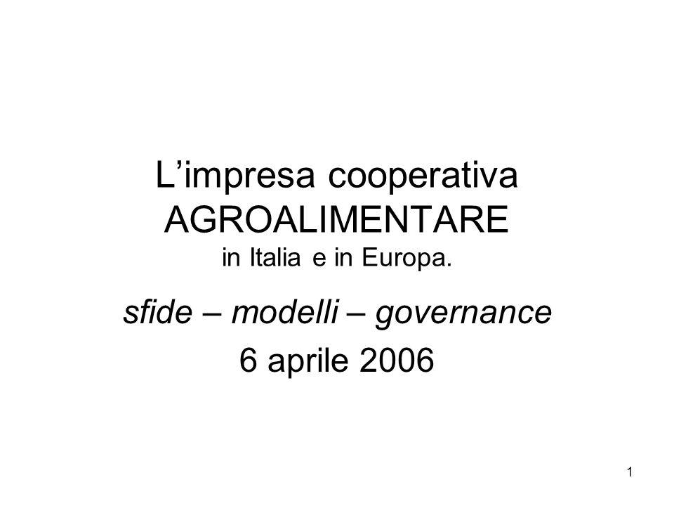 1 Limpresa cooperativa AGROALIMENTARE in Italia e in Europa. sfide – modelli – governance 6 aprile 2006