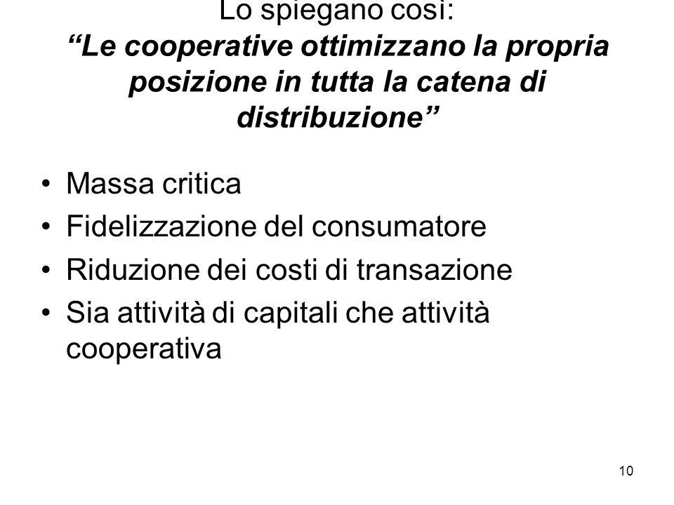 10 Lo spiegano così: Le cooperative ottimizzano la propria posizione in tutta la catena di distribuzione Massa critica Fidelizzazione del consumatore Riduzione dei costi di transazione Sia attività di capitali che attività cooperativa