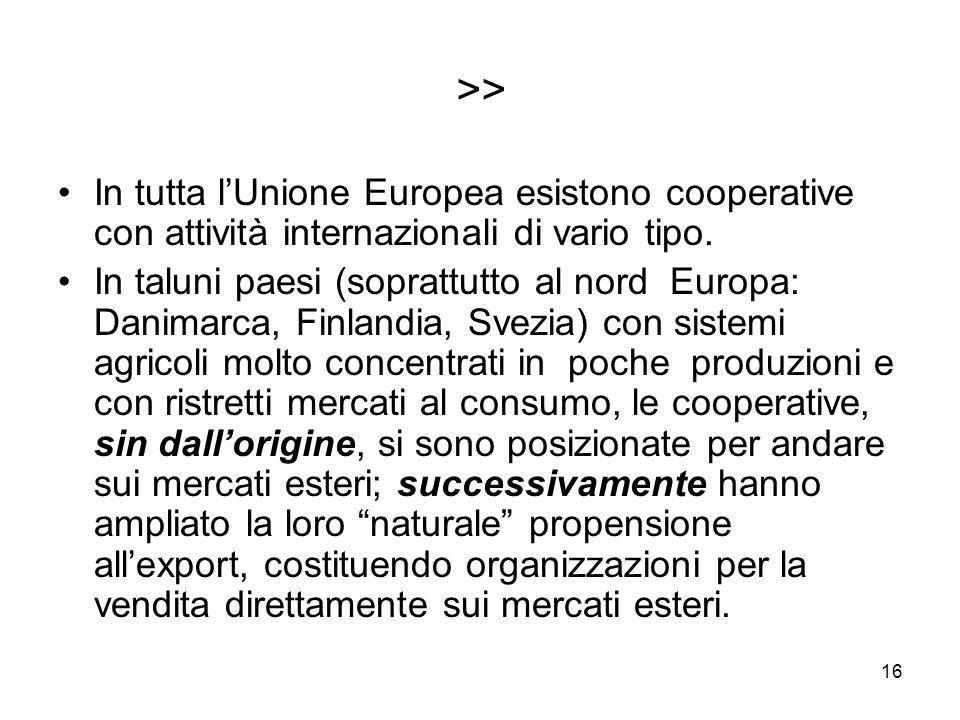 16 >> In tutta lUnione Europea esistono cooperative con attività internazionali di vario tipo.