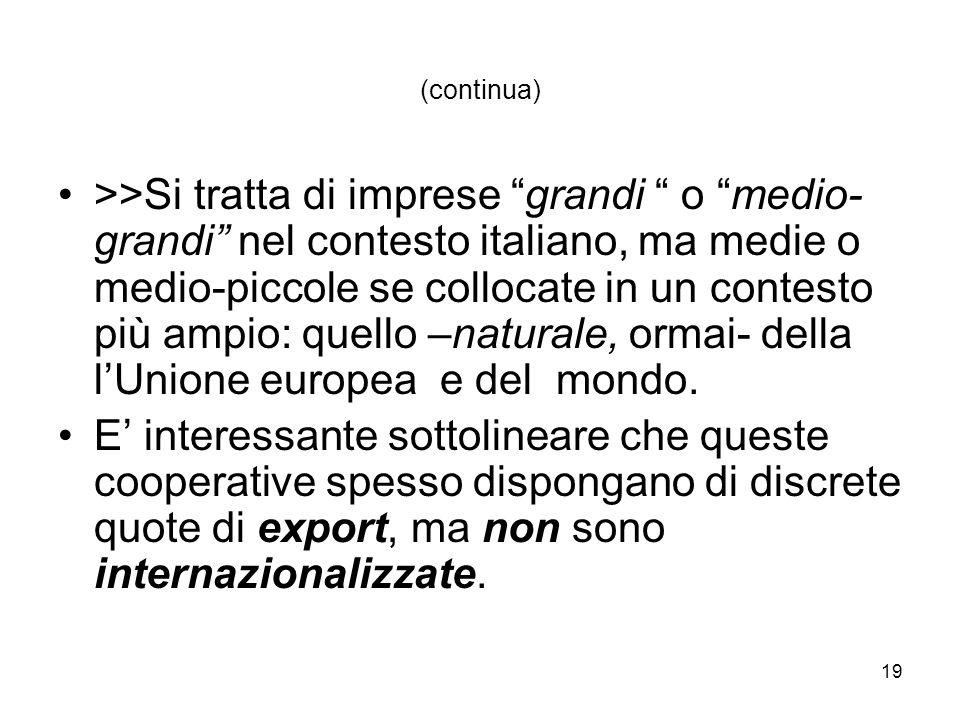 19 (continua) >>Si tratta di imprese grandi o medio- grandi nel contesto italiano, ma medie o medio-piccole se collocate in un contesto più ampio: quello –naturale, ormai- della lUnione europea e del mondo.