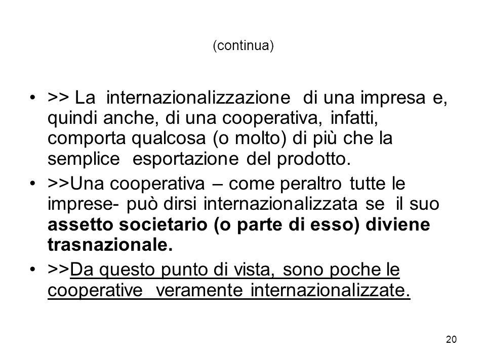 20 (continua) >> La internazionalizzazione di una impresa e, quindi anche, di una cooperativa, infatti, comporta qualcosa (o molto) di più che la semplice esportazione del prodotto.