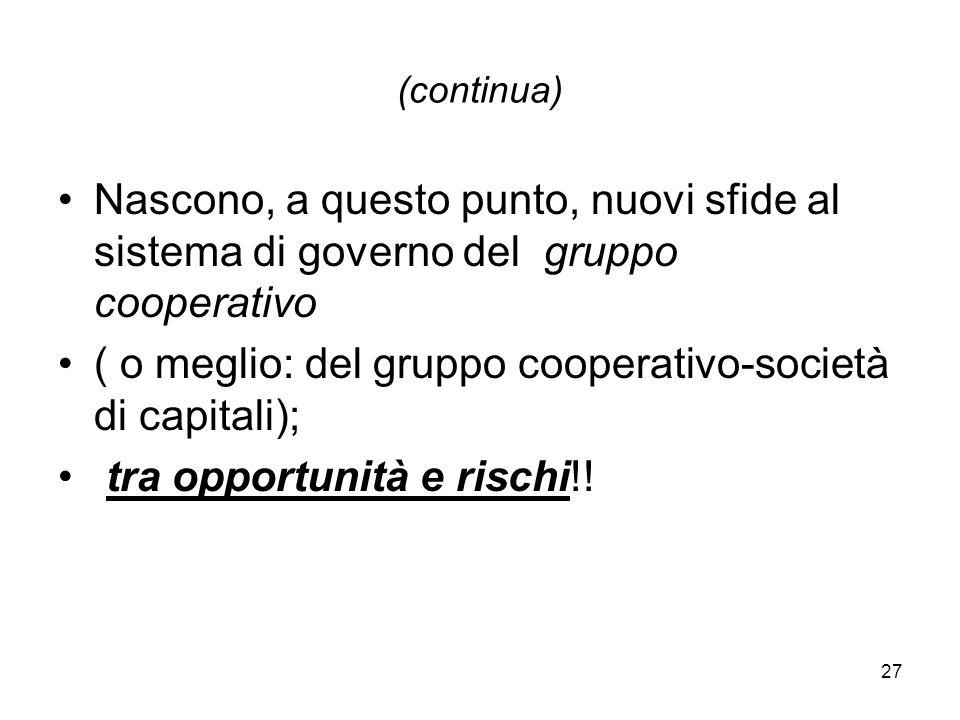 27 (continua) Nascono, a questo punto, nuovi sfide al sistema di governo del gruppo cooperativo ( o meglio: del gruppo cooperativo-società di capitali); tra opportunità e rischi!!