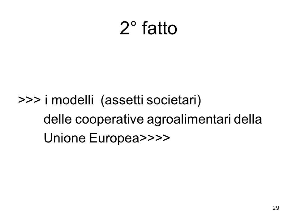 29 2° fatto >>> i modelli (assetti societari) delle cooperative agroalimentari della Unione Europea>>>>
