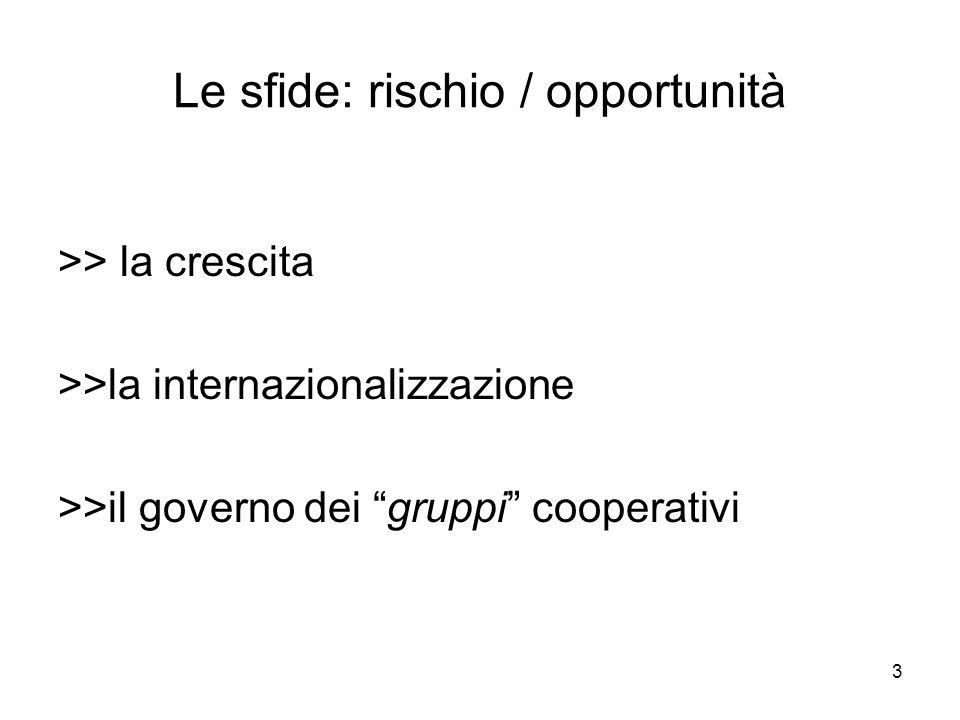 3 Le sfide: rischio / opportunità >> la crescita >>la internazionalizzazione >>il governo dei gruppi cooperativi