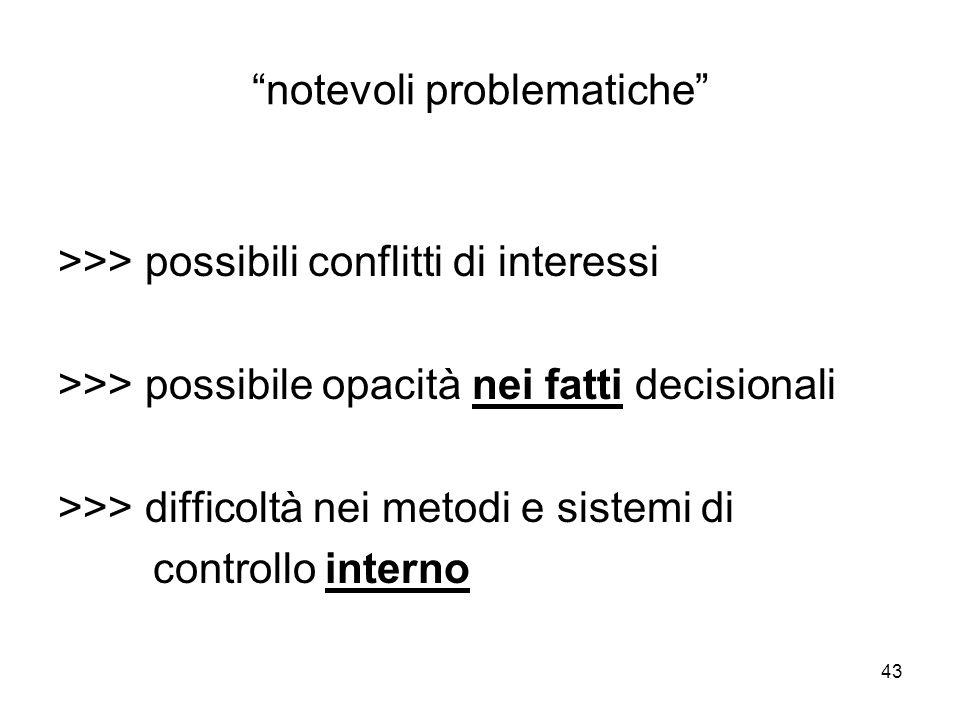 43 notevoli problematiche >>> possibili conflitti di interessi >>> possibile opacità nei fatti decisionali >>> difficoltà nei metodi e sistemi di controllo interno