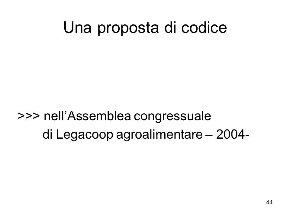 44 Una proposta di codice >>> nellAssemblea congressuale di Legacoop agroalimentare – 2004-