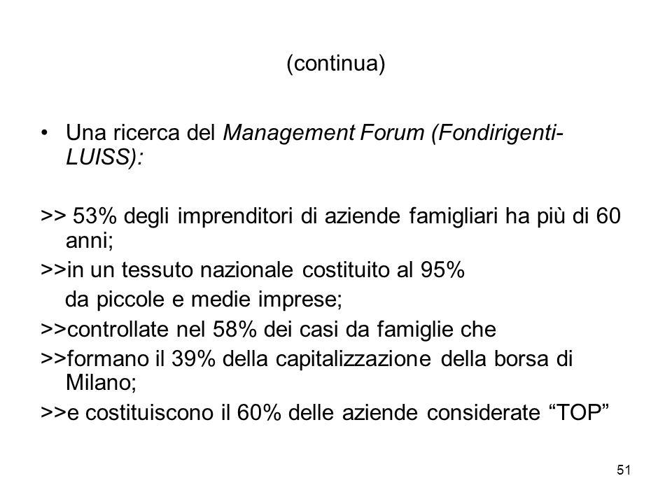 51 (continua) Una ricerca del Management Forum (Fondirigenti- LUISS): >> 53% degli imprenditori di aziende famigliari ha più di 60 anni; >>in un tessuto nazionale costituito al 95% da piccole e medie imprese; >>controllate nel 58% dei casi da famiglie che >>formano il 39% della capitalizzazione della borsa di Milano; >>e costituiscono il 60% delle aziende considerate TOP