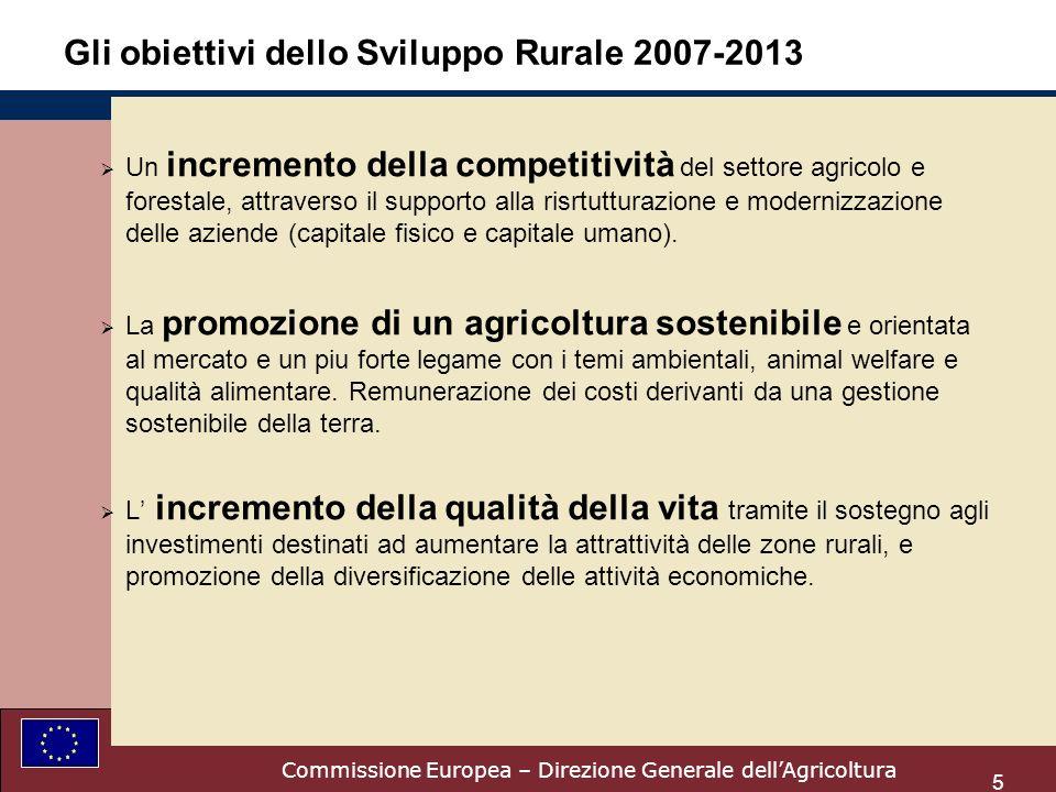 5 Gli obiettivi dello Sviluppo Rurale 2007-2013 Un incremento della competitività del settore agricolo e forestale, attraverso il supporto alla risrtutturazione e modernizzazione delle aziende (capitale fisico e capitale umano).