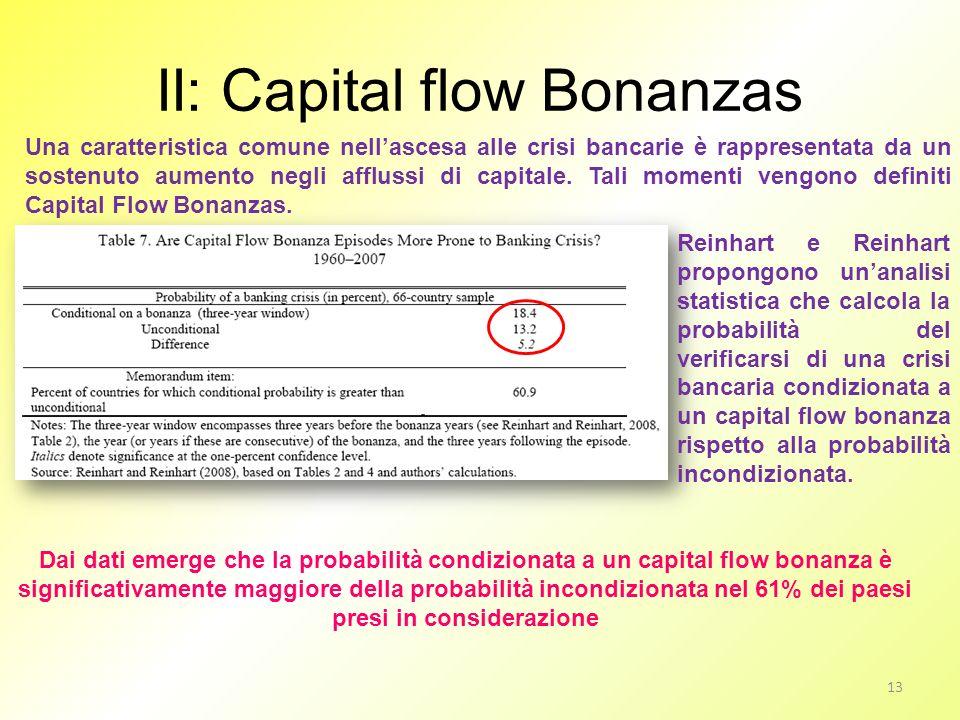 II: Capital flow Bonanzas Una caratteristica comune nellascesa alle crisi bancarie è rappresentata da un sostenuto aumento negli afflussi di capitale.