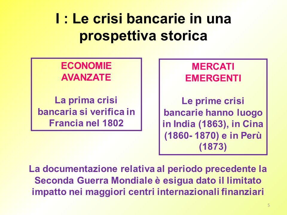 I : Le crisi bancarie in una prospettiva storica ECONOMIE AVANZATE La prima crisi bancaria si verifica in Francia nel 1802 MERCATI EMERGENTI Le prime