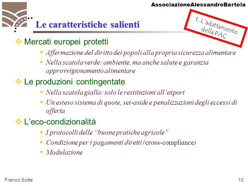 AssociazioneAlessandroBartola Franco Sotte 10 Le caratteristiche salienti Mercati europei protetti Affermazione del diritto dei popoli alla propria si