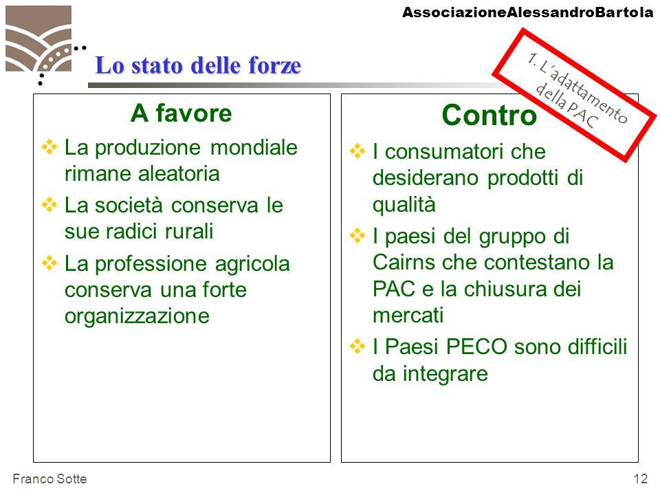 AssociazioneAlessandroBartola Franco Sotte 12 Lo stato delle forze A favore La produzione mondiale rimane aleatoria La società conserva le sue radici