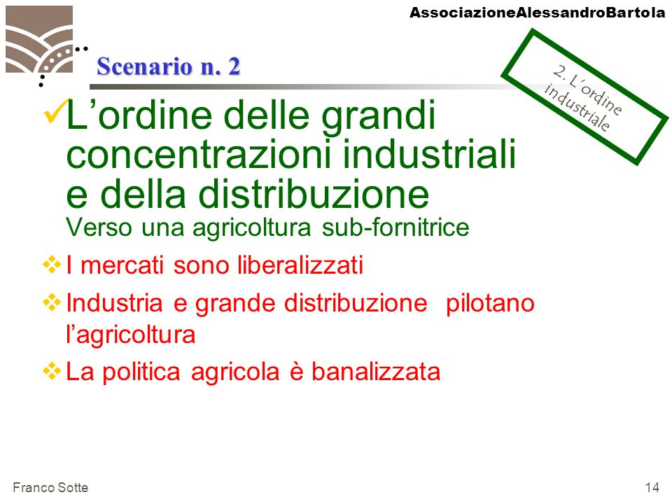 AssociazioneAlessandroBartola Franco Sotte 14 Scenario n. 2 Lordine delle grandi concentrazioni industriali e della distribuzione Verso una agricoltur