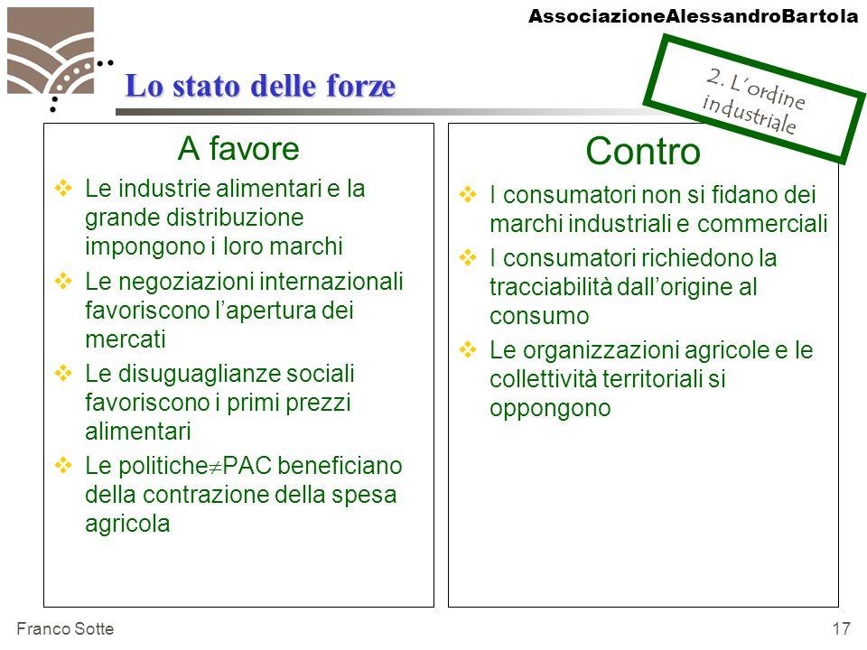 AssociazioneAlessandroBartola Franco Sotte 17 Lo stato delle forze A favore Le industrie alimentari e la grande distribuzione impongono i loro marchi