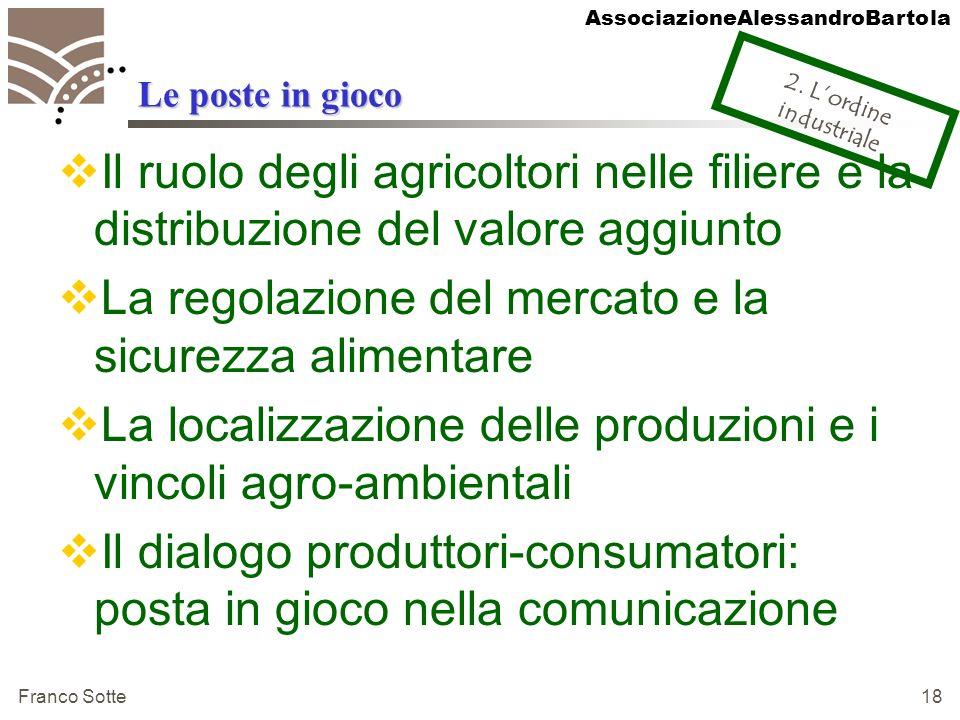 AssociazioneAlessandroBartola Franco Sotte 18 Le poste in gioco Il ruolo degli agricoltori nelle filiere e la distribuzione del valore aggiunto La reg