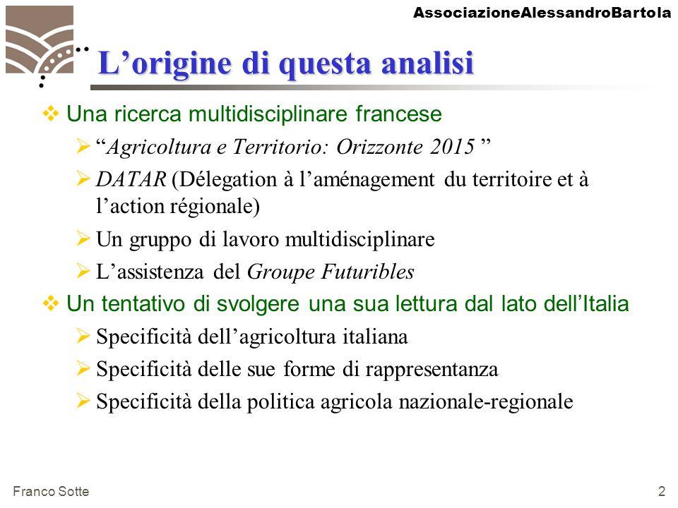 AssociazioneAlessandroBartola Franco Sotte 2 Lorigine di questa analisi Una ricerca multidisciplinare francese Agricoltura e Territorio: Orizzonte 201