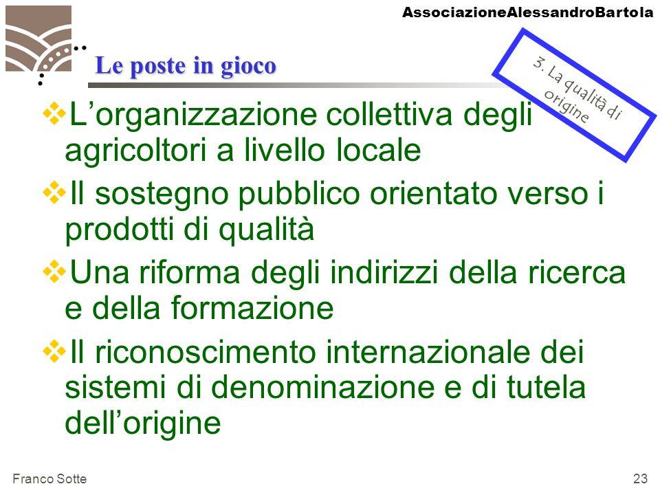 AssociazioneAlessandroBartola Franco Sotte 23 Le poste in gioco Lorganizzazione collettiva degli agricoltori a livello locale Il sostegno pubblico ori