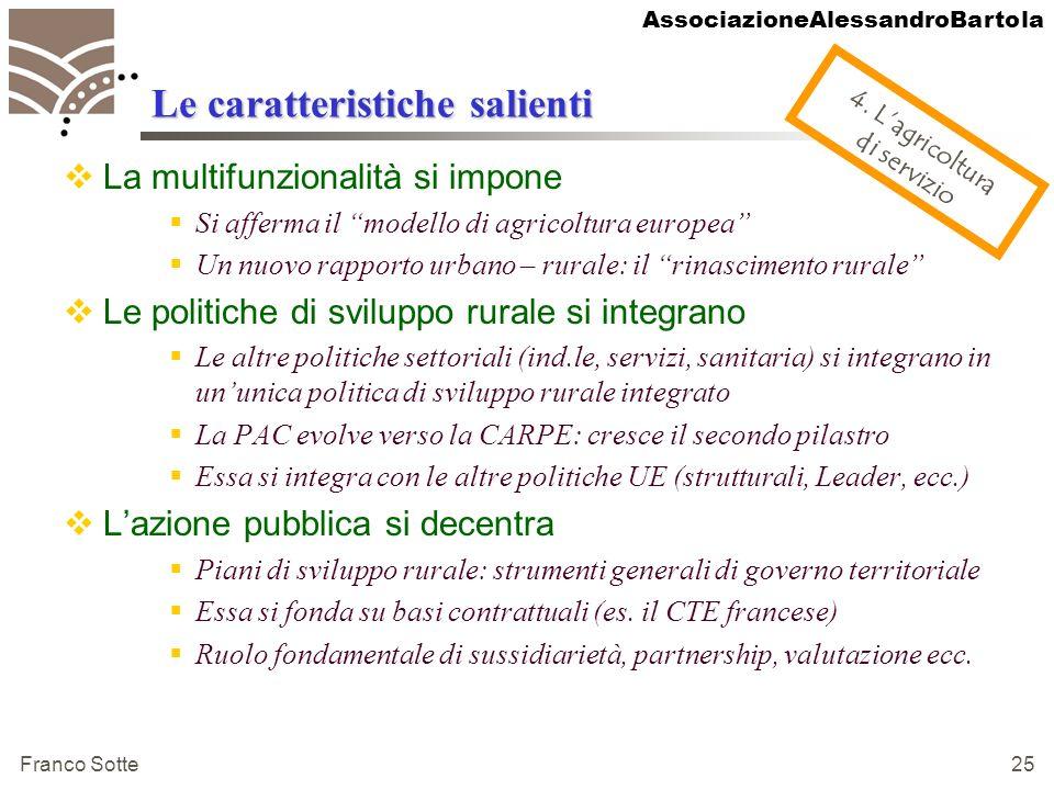 AssociazioneAlessandroBartola Franco Sotte 25 Le caratteristiche salienti La multifunzionalità si impone Si afferma il modello di agricoltura europea