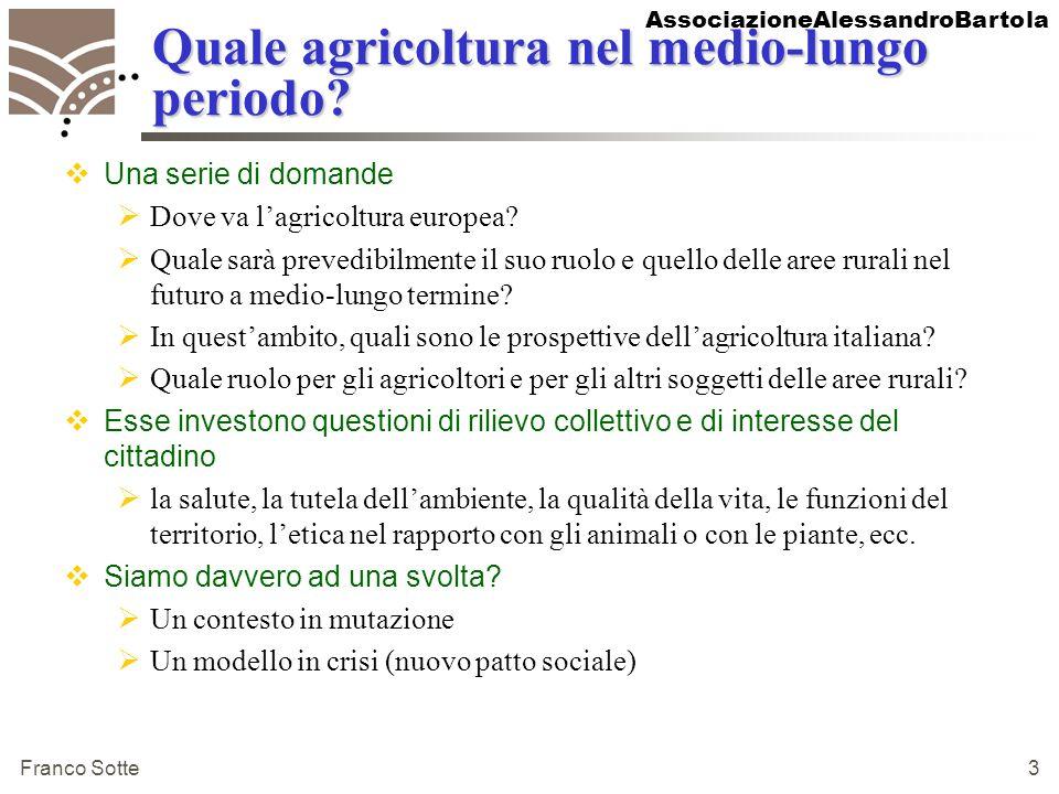AssociazioneAlessandroBartola Franco Sotte 3 Quale agricoltura nel medio-lungo periodo? Una serie di domande Dove va lagricoltura europea? Quale sarà