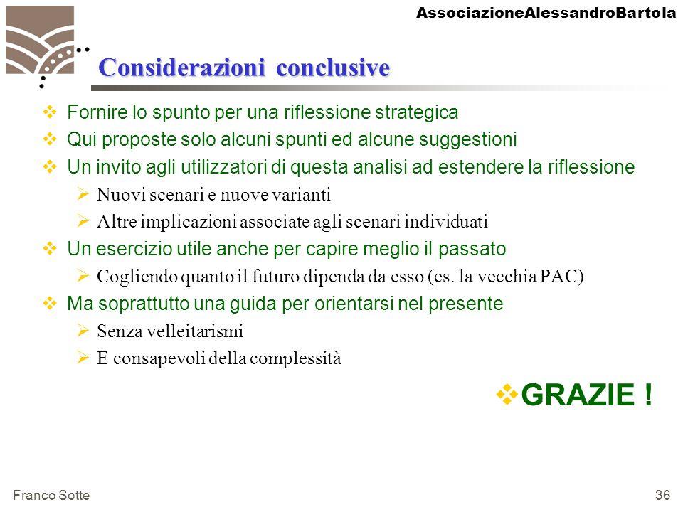 AssociazioneAlessandroBartola Franco Sotte 36 Considerazioni conclusive Fornire lo spunto per una riflessione strategica Qui proposte solo alcuni spun