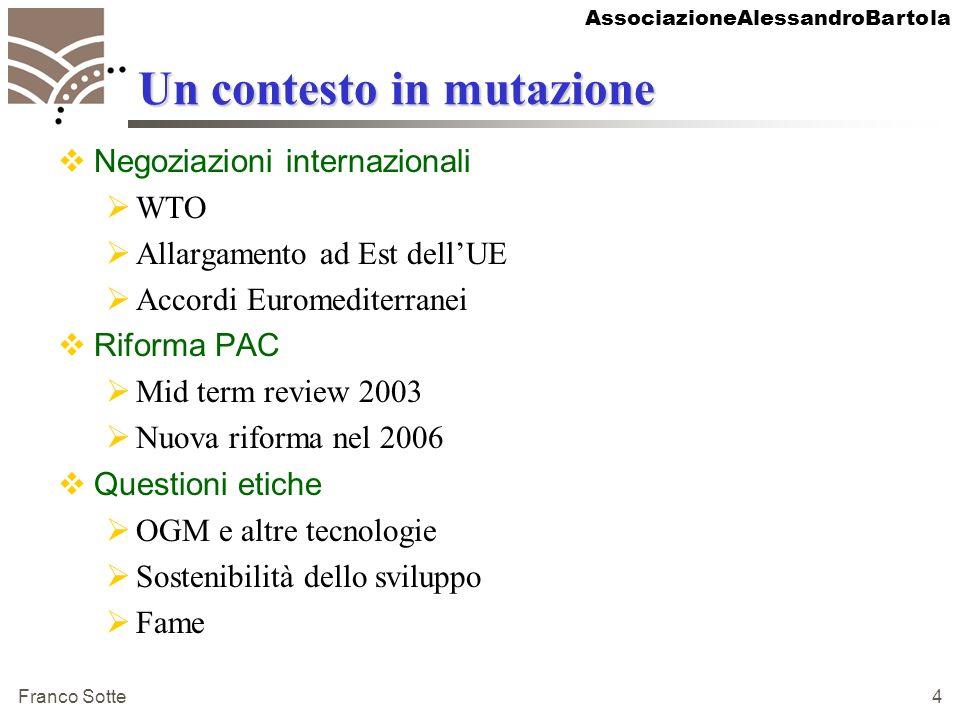 AssociazioneAlessandroBartola Franco Sotte 4 Un contesto in mutazione Negoziazioni internazionali WTO Allargamento ad Est dellUE Accordi Euromediterra