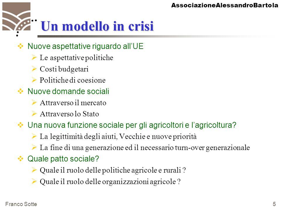 AssociazioneAlessandroBartola Franco Sotte 5 Un modello in crisi Nuove aspettative riguardo allUE Le aspettative politiche Costi budgetari Politiche d