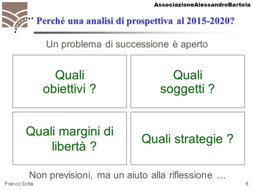 AssociazioneAlessandroBartola Franco Sotte 6 Perché una analisi di prospettiva al 2015-2020? Quali margini di libertà ? Quali strategie ? Non previsio