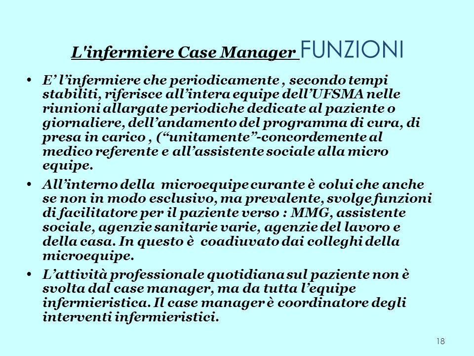 18 L'infermiere Case Manager FUNZIONI E linfermiere che periodicamente, secondo tempi stabiliti, riferisce allintera equipe dellUFSMA nelle riunioni a