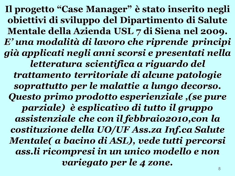 8 Il progetto Case Manager è stato inserito negli obiettivi di sviluppo del Dipartimento di Salute Mentale della Azienda USL 7 di Siena nel 2009. E un