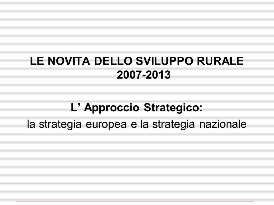 LE NOVITA DELLO SVILUPPO RURALE 2007-2013 L Approccio Strategico: la strategia europea e la strategia nazionale