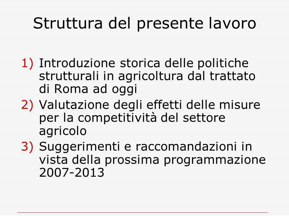Struttura del presente lavoro 1)Introduzione storica delle politiche strutturali in agricoltura dal trattato di Roma ad oggi 2)Valutazione degli effet