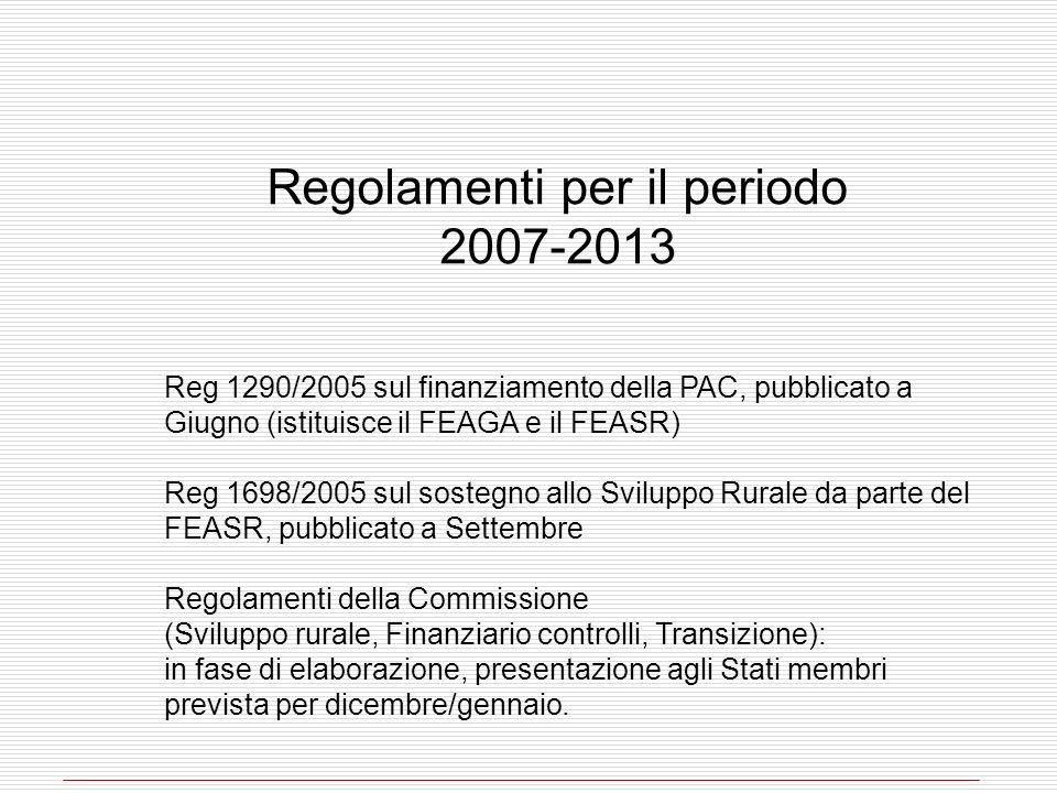 Regolamenti per il periodo 2007-2013 Reg 1290/2005 sul finanziamento della PAC, pubblicato a Giugno (istituisce il FEAGA e il FEASR) Reg 1698/2005 sul