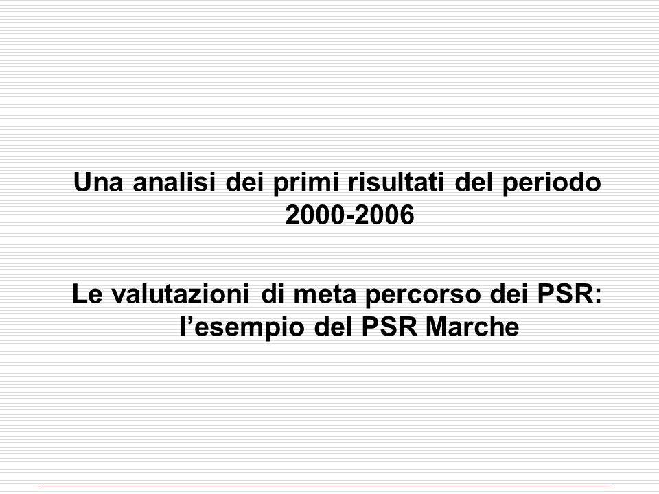 Una analisi dei primi risultati del periodo 2000-2006 Le valutazioni di meta percorso dei PSR: lesempio del PSR Marche