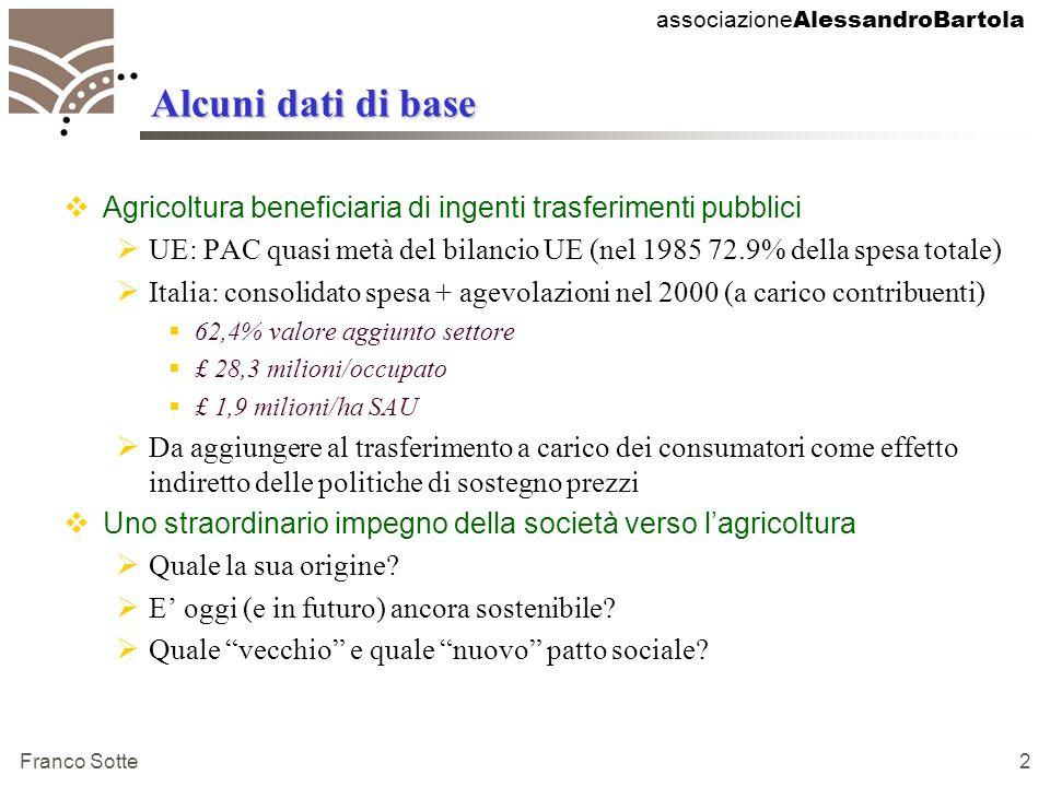 associazione AlessandroBartola Franco Sotte 2 Alcuni dati di base Agricoltura beneficiaria di ingenti trasferimenti pubblici UE: PAC quasi metà del bilancio UE (nel 1985 72.9% della spesa totale) Italia: consolidato spesa + agevolazioni nel 2000 (a carico contribuenti) 62,4% valore aggiunto settore £ 28,3 milioni/occupato £ 1,9 milioni/ha SAU Da aggiungere al trasferimento a carico dei consumatori come effetto indiretto delle politiche di sostegno prezzi Uno straordinario impegno della società verso lagricoltura Quale la sua origine.