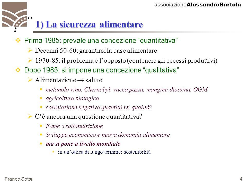 associazione AlessandroBartola Franco Sotte 15 Scadenze di Agenda 2000 2001Confronto PECO/UE entra nel vivo 2002Mid Term Review Agenda 2000 per cereali e oleaginose 2002Trattative WTO entrano nel vivo 2002Rapporto sullevoluzione della spesa ed eventuali proposte di riforma 2003Conclusione negoziato agricolo WTO 2003Mid Term Review per prodotti Lattiero Caseari 2003Termine negoziati con candidati PECO 2004-5Prime adesioni PECO allUE 2006Termine validità Agenda2000 e avvio nuovo sessennio programmazione 2008Fine proroga del regime delle quote-latte