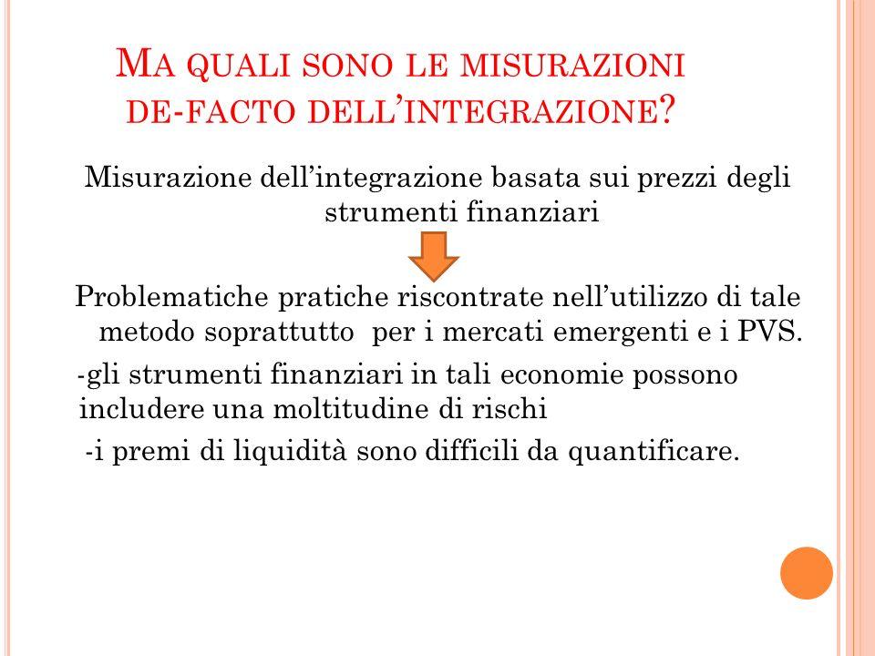 M ISURAZIONE DELL INTEGRAZIONE Q UANTITY BASED BASATA SUI FLUSSI EFFETTIVI È la misurazione che meglio consente di stabilire lintegrazione finanziaria di fatto dei paesi.