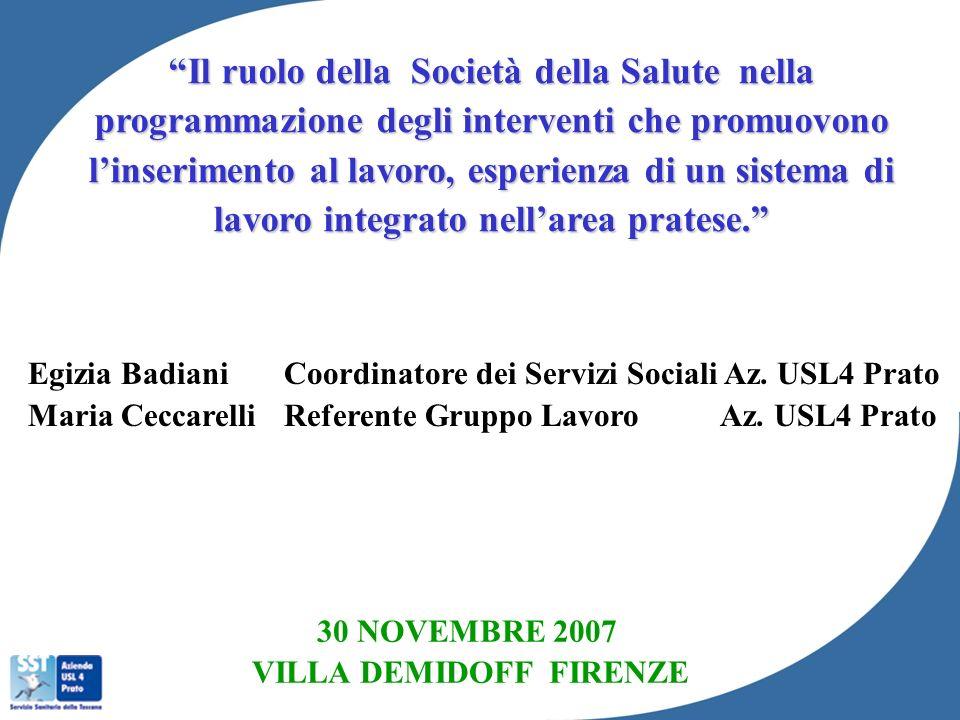 Egizia Badiani Coordinatore dei Servizi Sociali Az. USL4 Prato Maria Ceccarelli Referente Gruppo Lavoro Az. USL4 Prato 30 NOVEMBRE 2007 VILLA DEMIDOFF