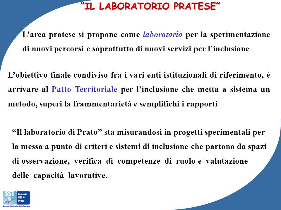 IL LABORATORIO PRATESE Larea pratese si propone come laboratorio per la sperimentazione di nuovi percorsi e soprattutto di nuovi servizi per linclusio
