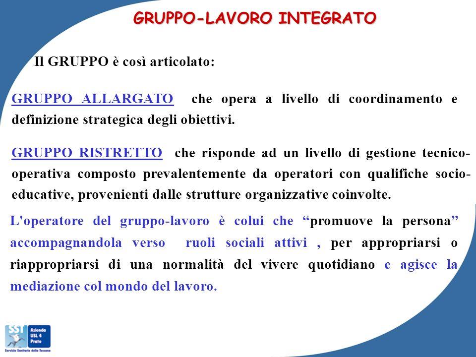 GRUPPO-LAVORO INTEGRATO Il GRUPPO è così articolato: GRUPPO ALLARGATO che opera a livello di coordinamento e definizione strategica degli obiettivi. G