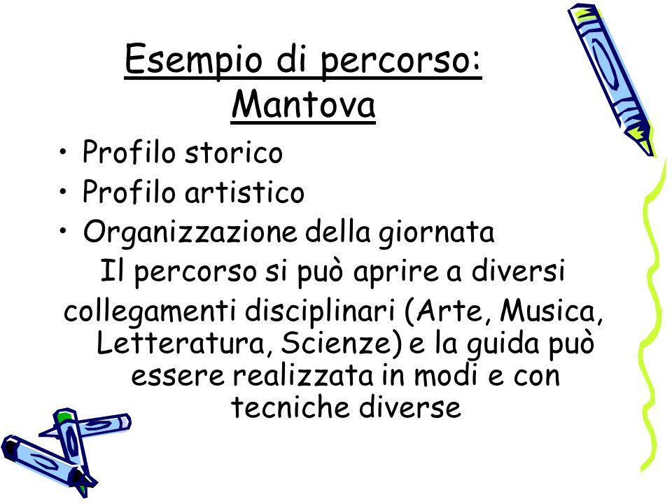 Esempio di percorso: Mantova Profilo storico Profilo artistico Organizzazione della giornata Il percorso si può aprire a diversi collegamenti discipli