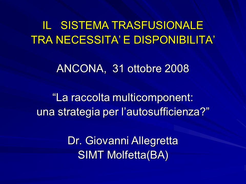 IL SISTEMA TRASFUSIONALE TRA NECESSITA E DISPONIBILITA ANCONA, 31 ottobre 2008 La raccolta multicomponent: una strategia per lautosufficienza.