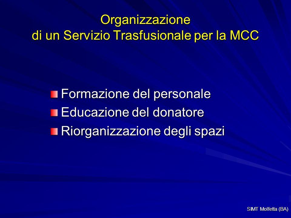 Organizzazione di un Servizio Trasfusionale per la MCC Formazione del personale Educazione del donatore Riorganizzazione degli spazi SIMT Molfetta (BA)