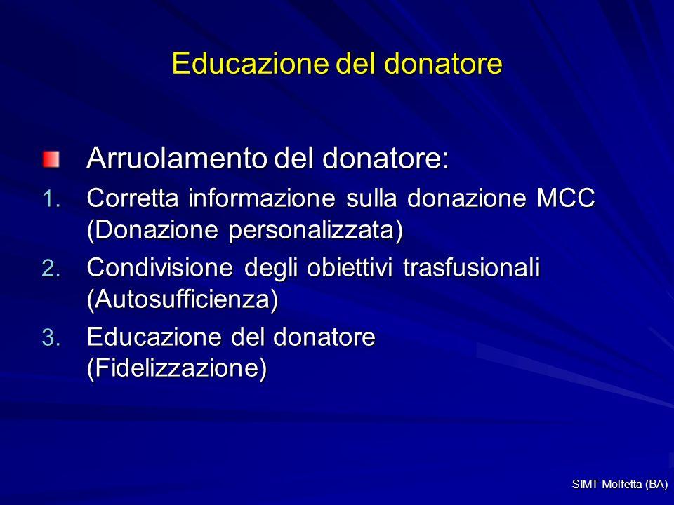 Educazione del donatore Arruolamento del donatore: 1. Corretta informazione sulla donazione MCC (Donazione personalizzata) 2. Condivisione degli obiet
